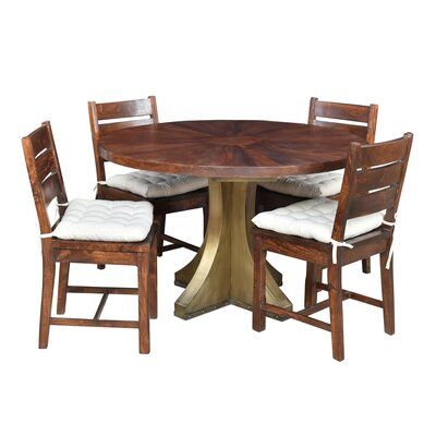 Loon Peak Valerie 5 Piece Solid Wood Dining Set In 2020 Solid Wood Dining Set Solid Wood Table Tops Simple Dining Table