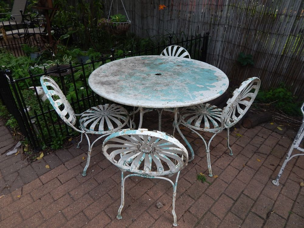 Wrought Iron Patio Furniture Vintage.Details About Vintage Wrought Iron Mid Century Patio Furniture Set 9