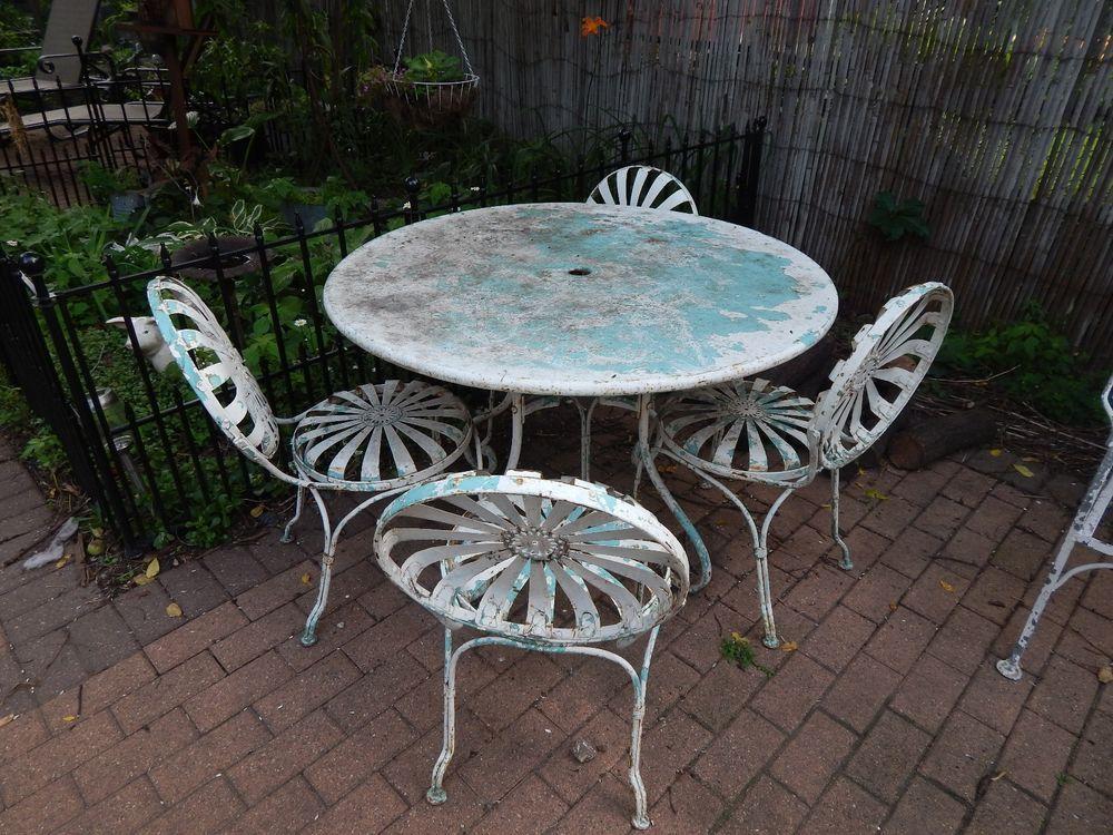 Vintage 1930 S 1940 S 9 Piece Wrought Iron Patio Furniture Set