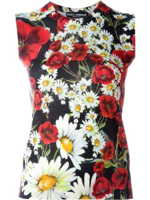 Dolce & Gabbana daisy and poppy print tank top