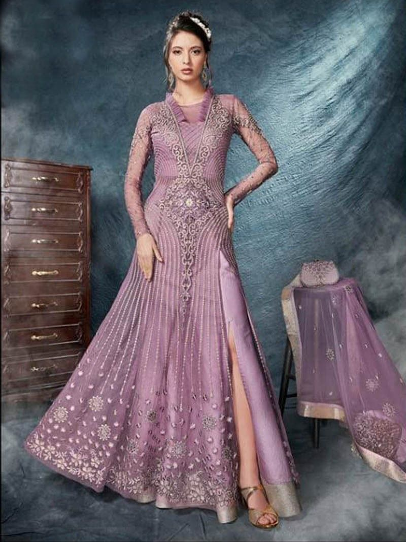 a36759d4e3 Bollywood Indian designer Readymade Party Wear Purple color dress with  heavy net dupatta