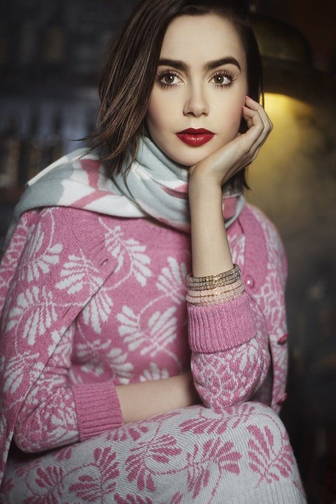 lily collins barrie knitwear 2014 3 Lily Collins Poses for Karl Lagerfeld in Barrie Knitwear Campaign