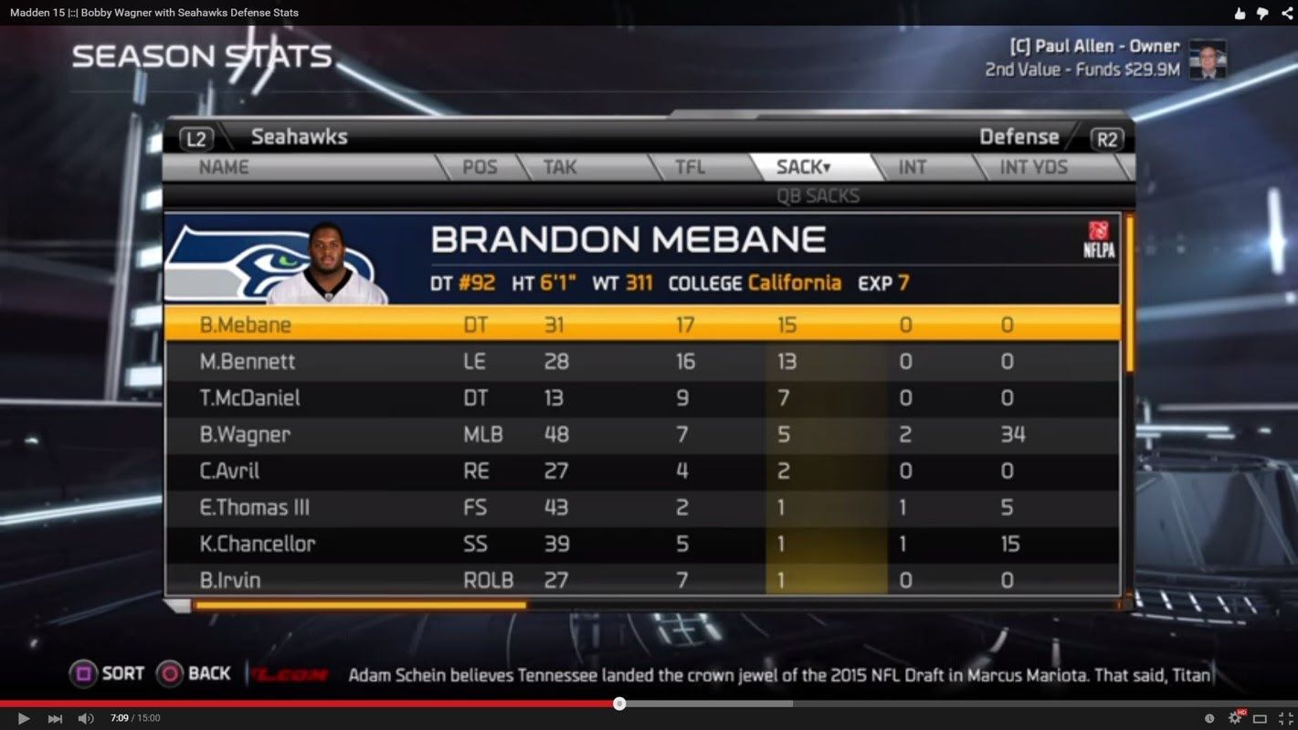 Madden 15 |::| Bobby Wagner with Seahawks Sacks with B Mebane