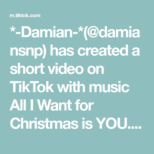 Damian Damiansnp Has Created A Short Video On Tiktok With Music All I Want For Christmas Is You I Found My New Fav Wallpa All I Want Things I Want Music