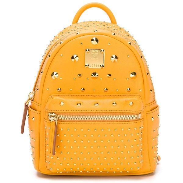 MCM Stud-Embellished  Mini Backpack ($1,223) ❤ liked on Polyvore featuring bags, backpacks, mini leather backpack, mcm, day pack backpack, mini backpack and leather studded backpack