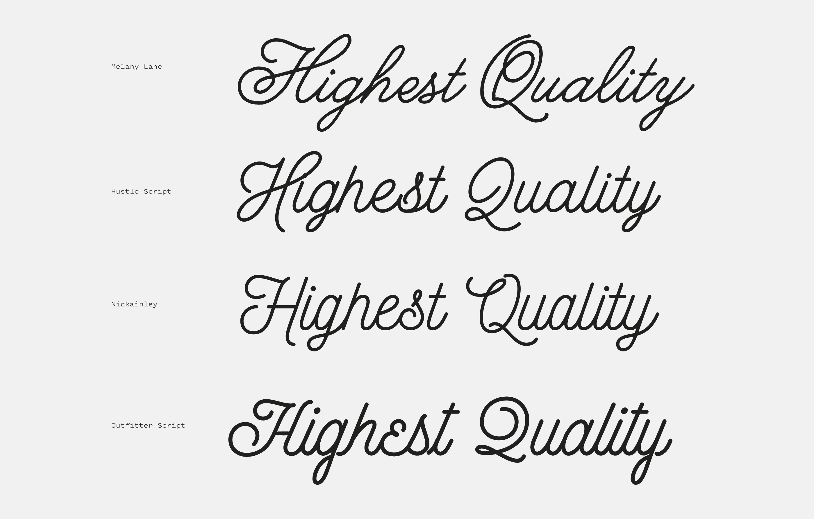 Melany Lane compared to other monoline script fonts. | typography ...