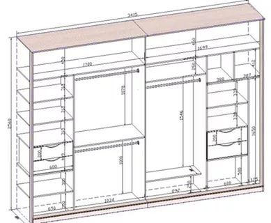 Шкаф купе 2 метра чертежи и схемы