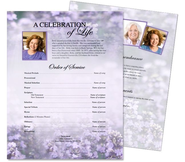 Funeral Memorial Flyers Templates Sweet Lilac One Page Flyer - memorial pamphlet template free