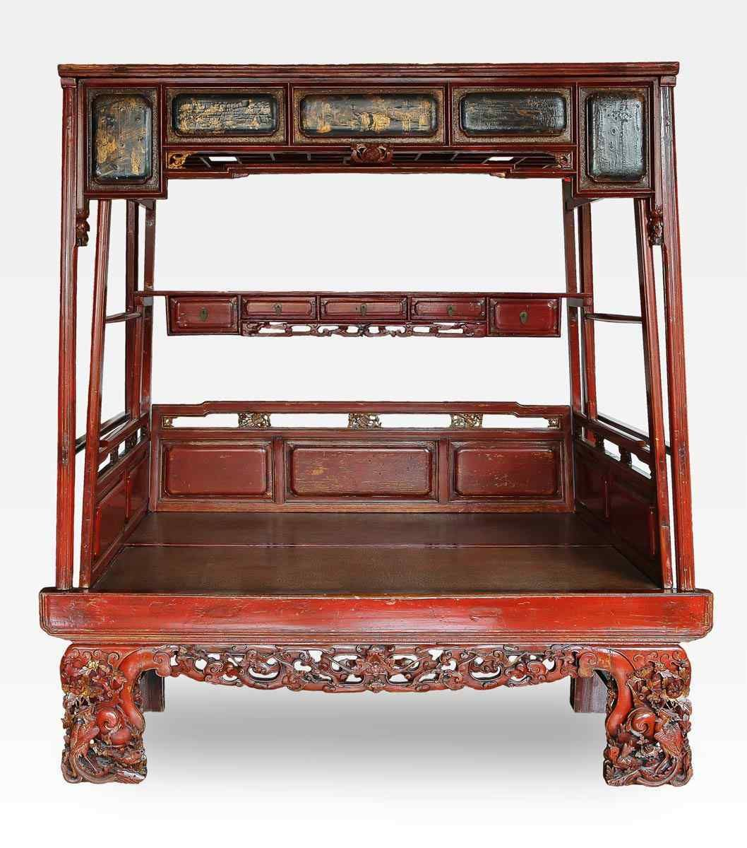 Japanese Canopy Bed Antique Carved Lacquered Chinese Canopy Bed Qing