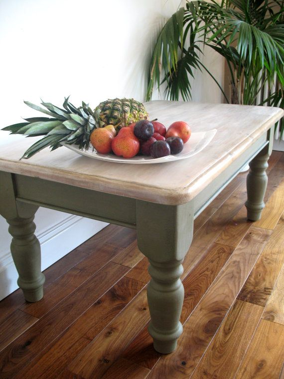 Solid Wooden Coffee Table Painted In Olive Green By Harperharper01