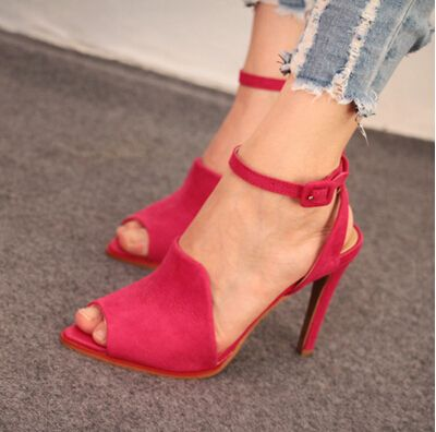 2014 summer new Europe women's shoes size 34-39 pointed red ladies sandals fish head high-heeled shoes with thin female pumps 4 $88.90