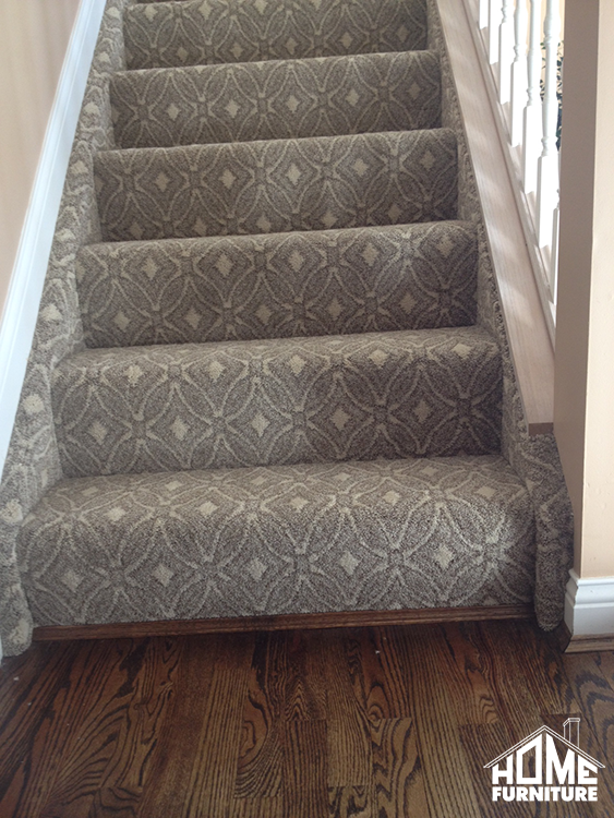Pattern Carpet Wrapped Stairs With A Sanding Refinish On | Grey Patterned Carpet Stairs | Unusual | Living Room | Grey Mottled | Carpet Wrapped | Geometric