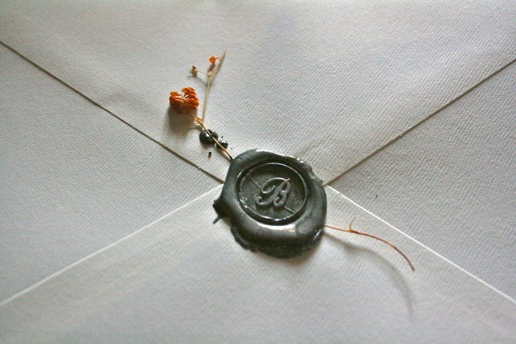 Seal And Send Wedding Invitations Diy: Wax Seals With Dried Flower Stem Neat Idea