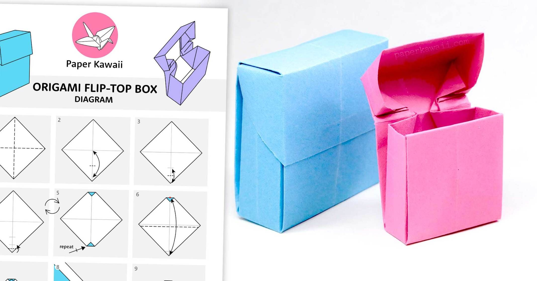 Origami Flip Top Box Instructions | Papers | Pinterest ... - photo#21