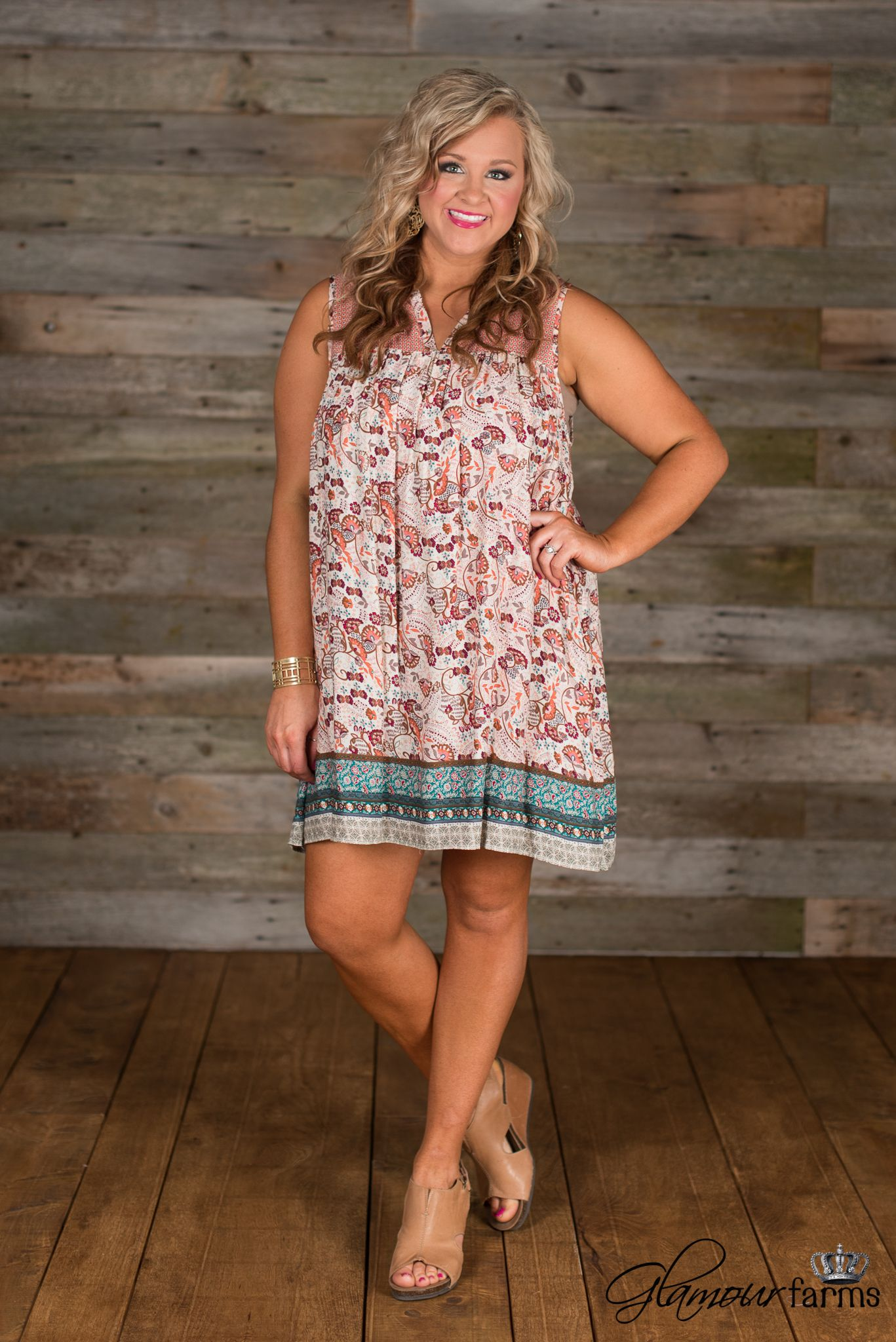 3f2b82ee5ea Sweet Embrace Tunic Dress is bohemian charm! Sleeveless with a v-neckline  and a gathered seam at front and back bodice.