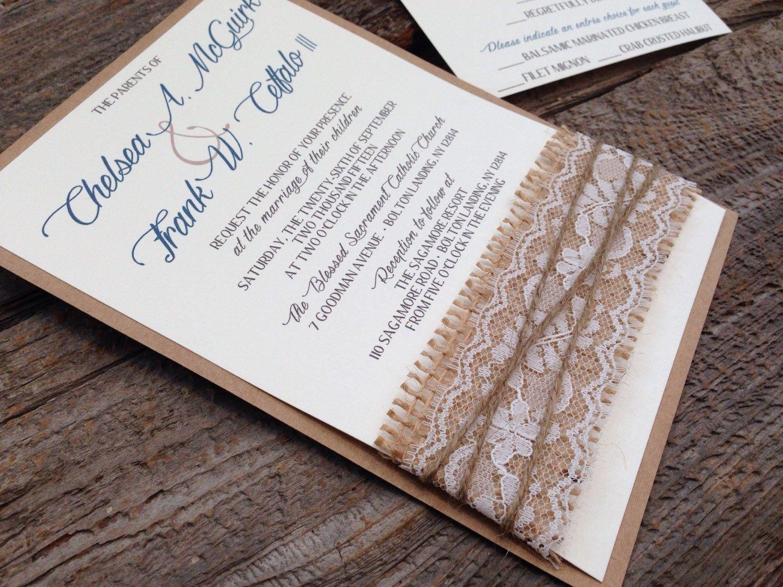 Rustic Elegant Wedding Invitation,Burlap Wedding Invitation,Lace ...