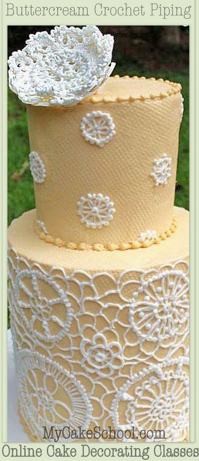 Buttercream Crochet Piping Design Cake Decorating Video Cake Decorating Videos Cake Decorating Classes Crochet Cake