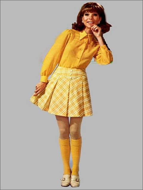 Mini Skirts   Knee Socks = Totally the beginning of 70s!! Does ...