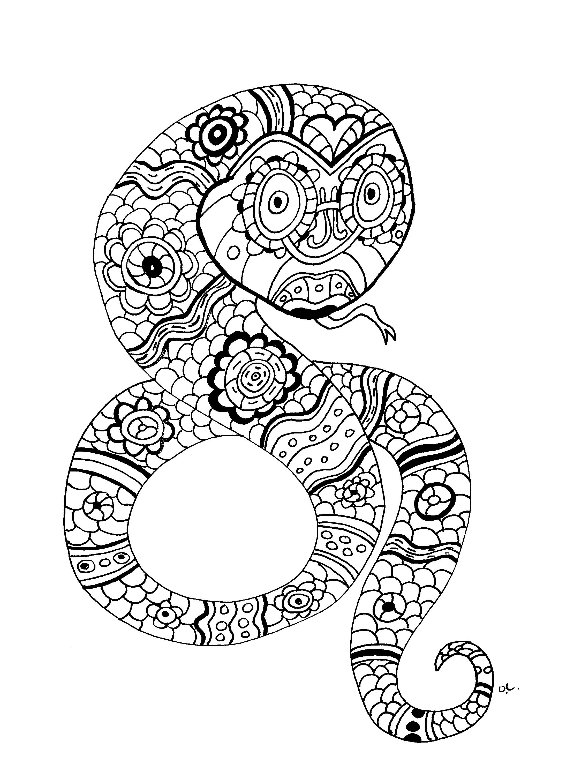 Free coloring page coloring-the-snake-by-oliv. The Snake, original ...