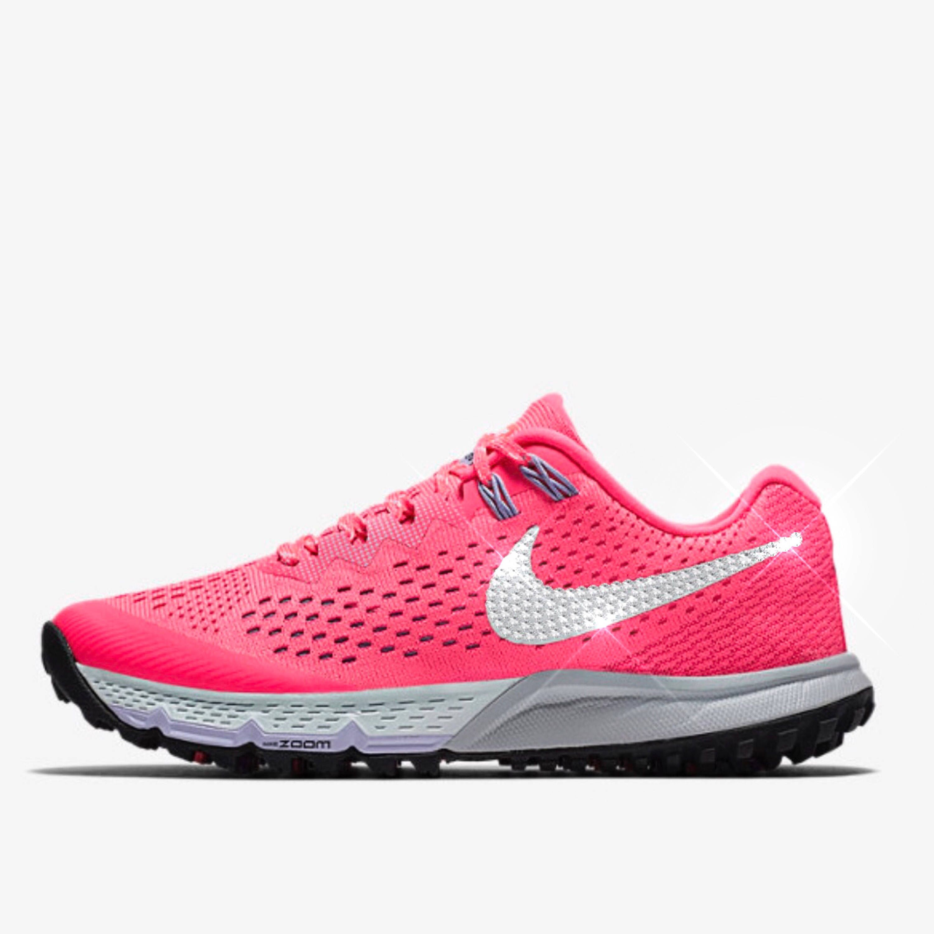 bling nikes- bling nike shoes- sparkly pink nikes- hot pink crystal nikes-