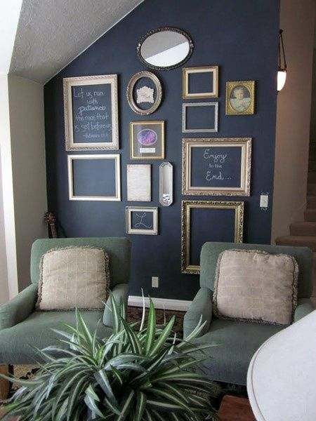 love this black chalkboard wall with empty frames.  Add pictures and inspirational/silly phrases to set the mood