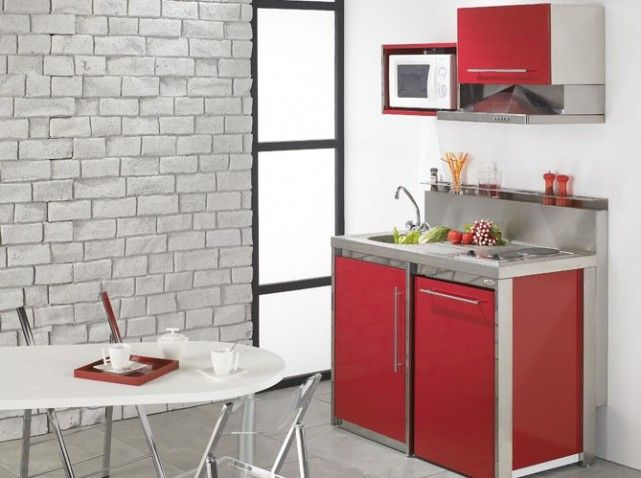 Exemple Decoration Cuisine Kitchenette Red Kitchen Kitchenette