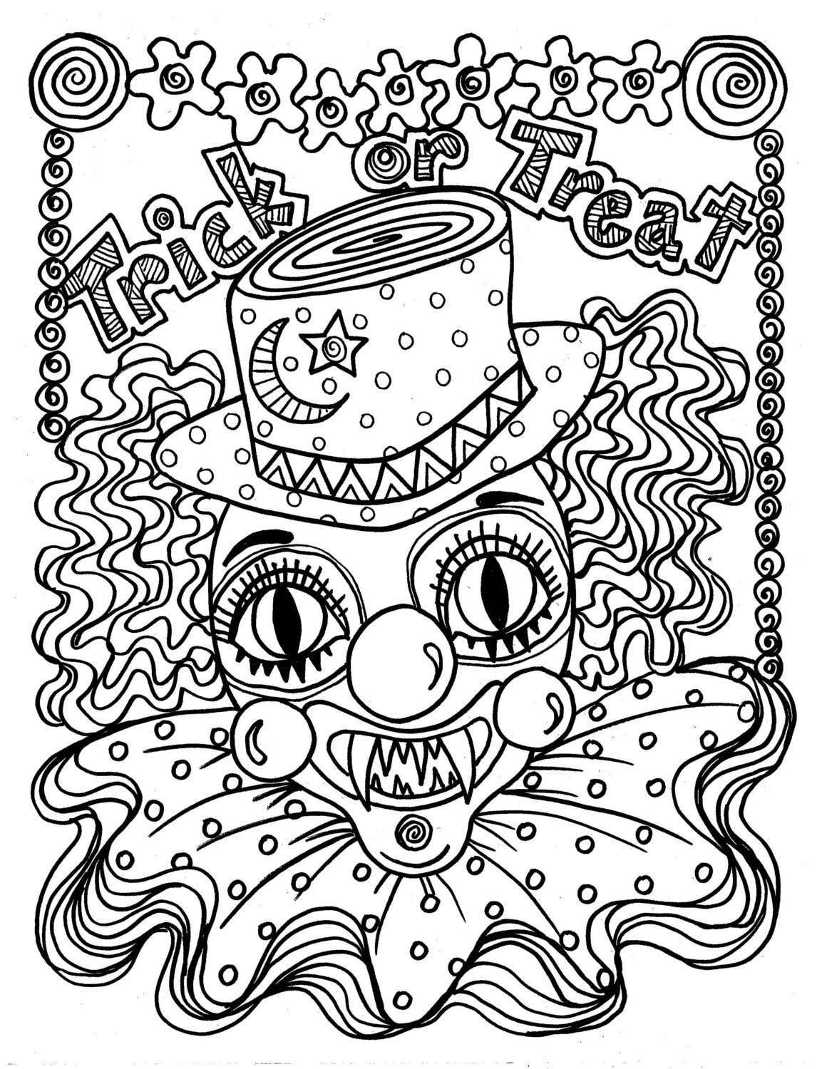 Scary dinosaur coloring pages - Instant Download Scary Clown Halloween Spooky Coloring Page For All Ages Trick Or Treat