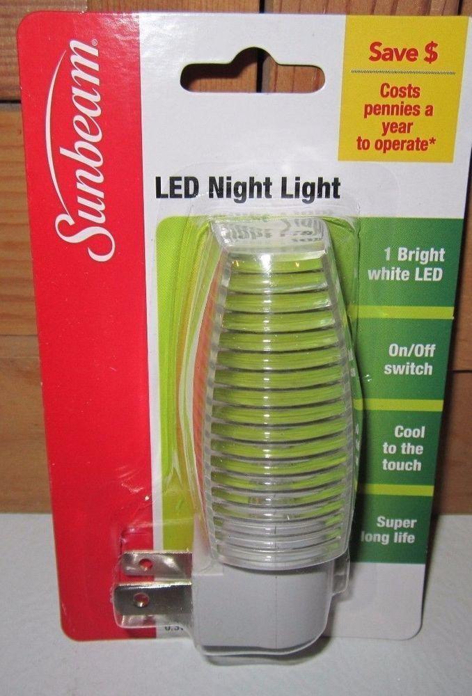 Sunbeam Led Night Light Clear White Auto On Off Sensor New In Pack Led Night Light Night Light Led