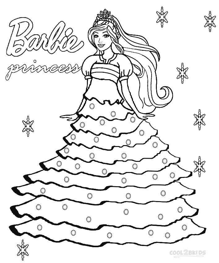 Coloring Pages Barbie To Print : Printable barbie princess coloring pages for kids