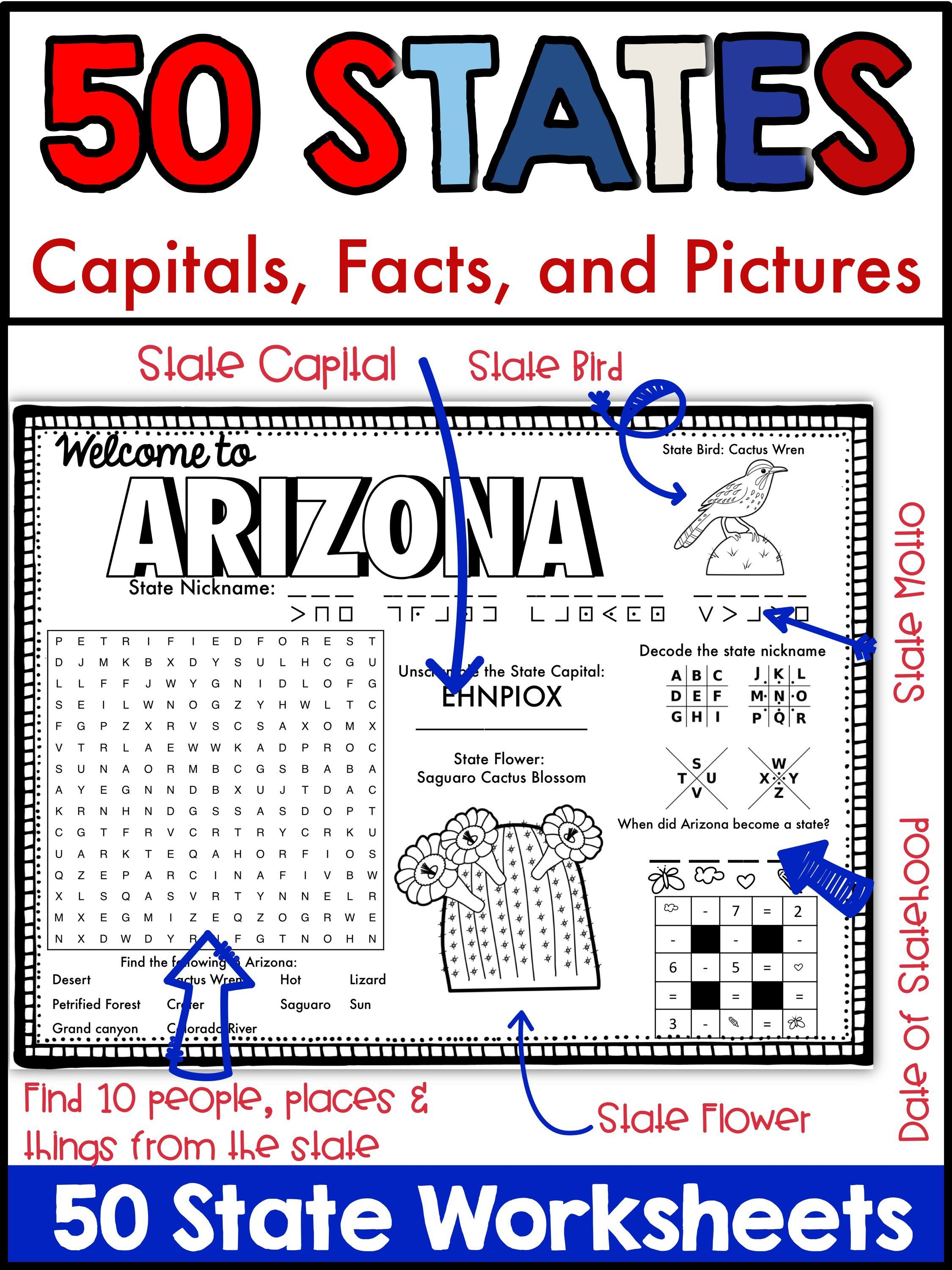 50 States And Capitals Puzzles And Worksheets