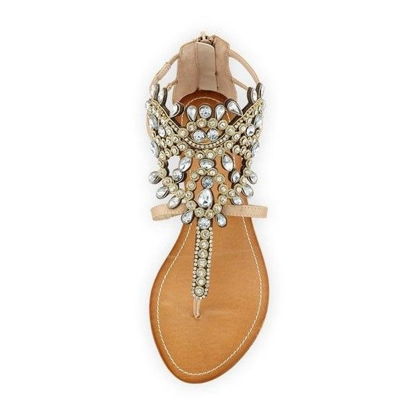 24f36cc249 Premium Collection By Yellow Box P-Araminta Embellished Wedge Sandal ($69)  ❤ liked on Polyvore featuring shoes, sandals, jeweled wedge sandals, ...