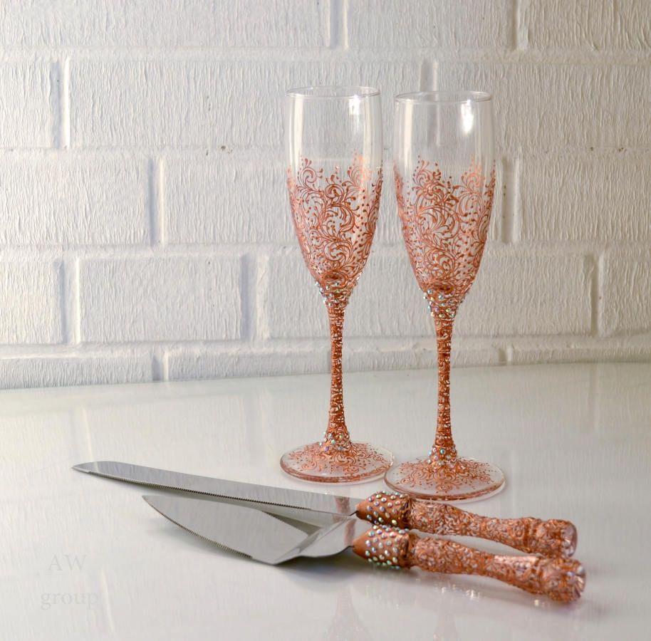ROSE GOLD Wedding glasses & Cutting Set Cake knife rose gold mr and ...