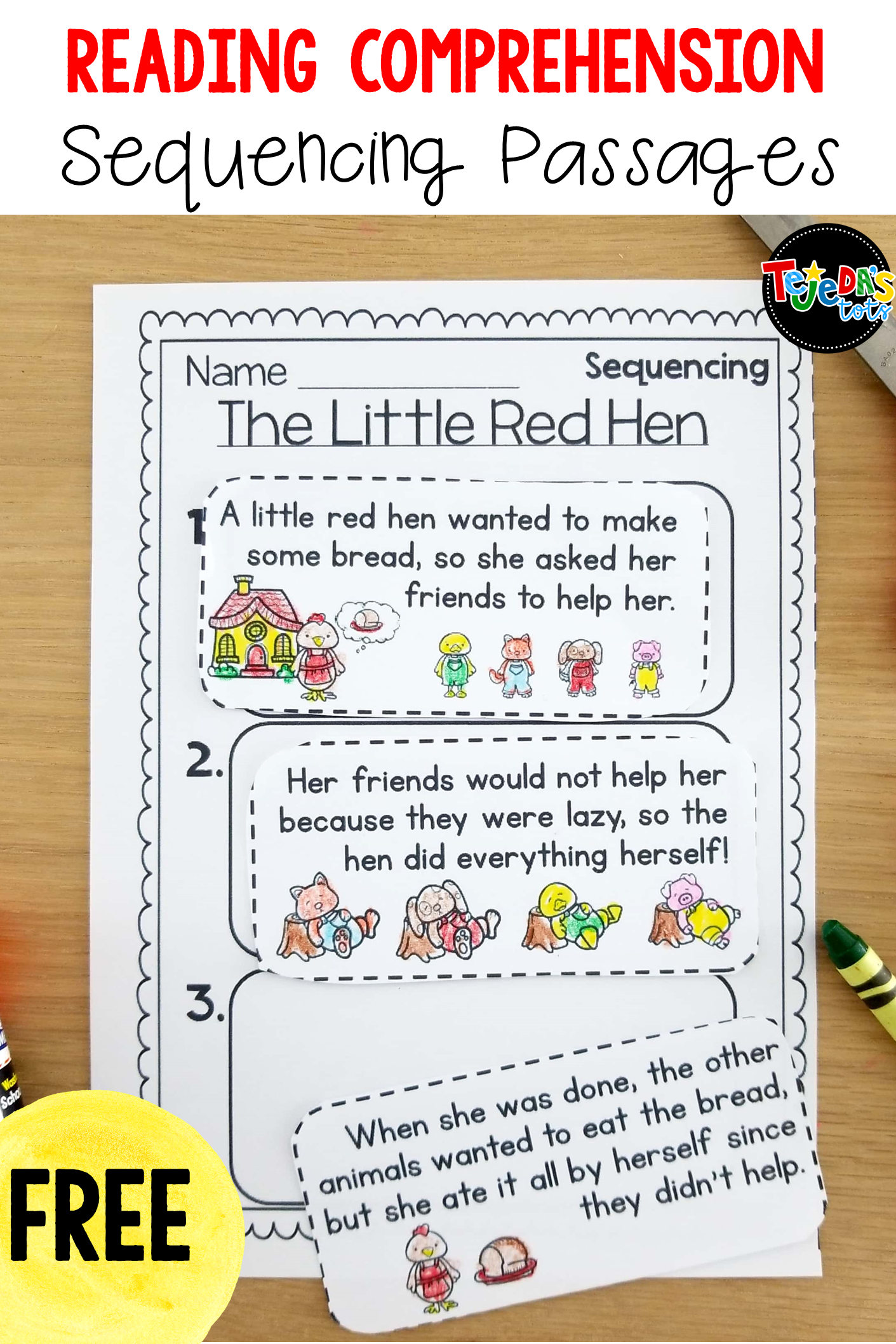 - Sequencing Freebie Reading Comprehension Worksheets, First Grade
