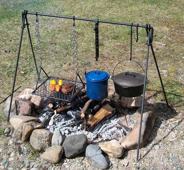 Frontier campfire cooker bbq cooking grill camping for What to cook in a dutch oven camping