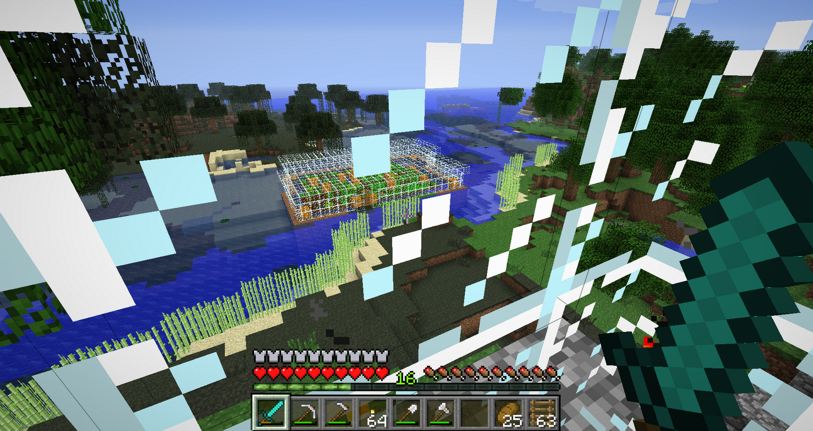 Minecraft greenhouse.  Built by surrounding an island with glass.  Safe farming at night, no monsters can get in and it is too light for them to spawn.