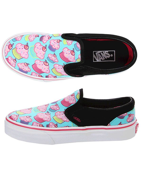 6445837e53f Vans Girl Classic Slip-On Shoe (Cupcakes)