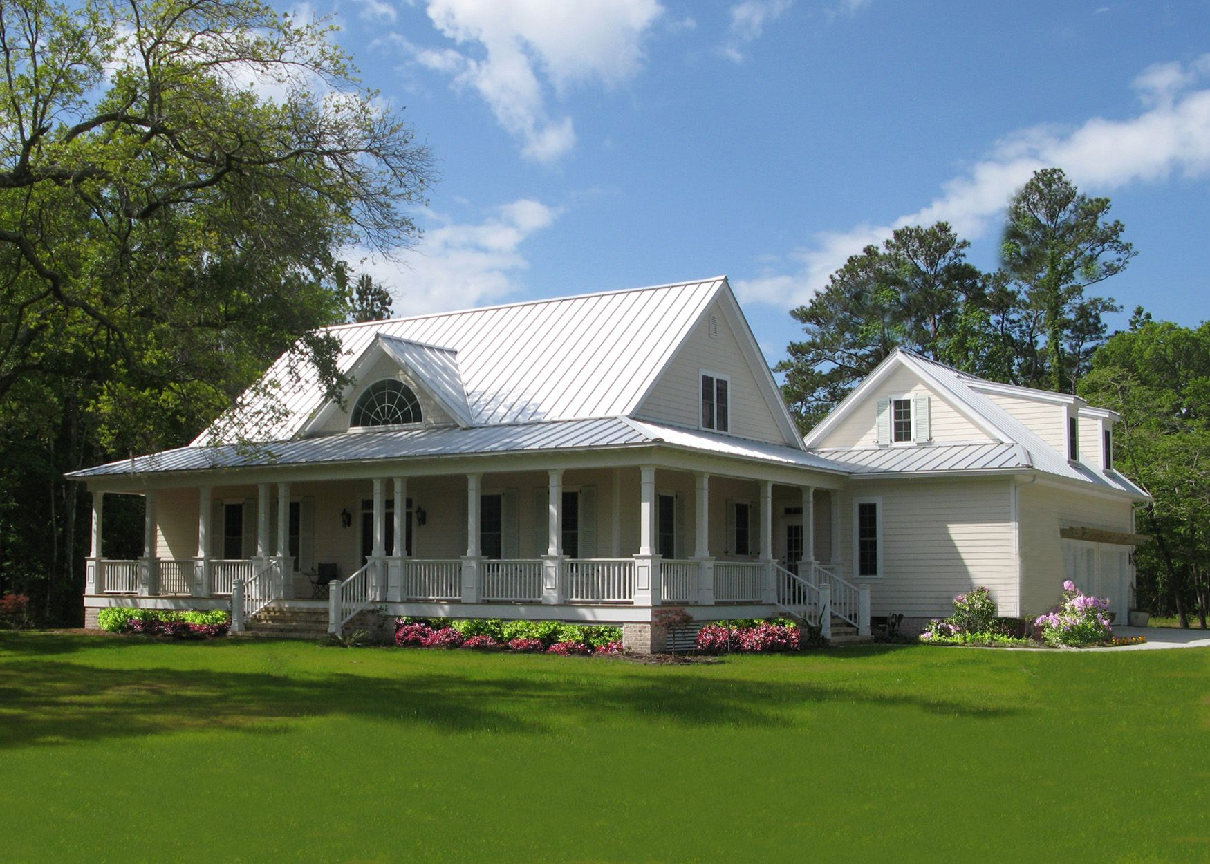 southern style farm house with wrap around porch wraparound