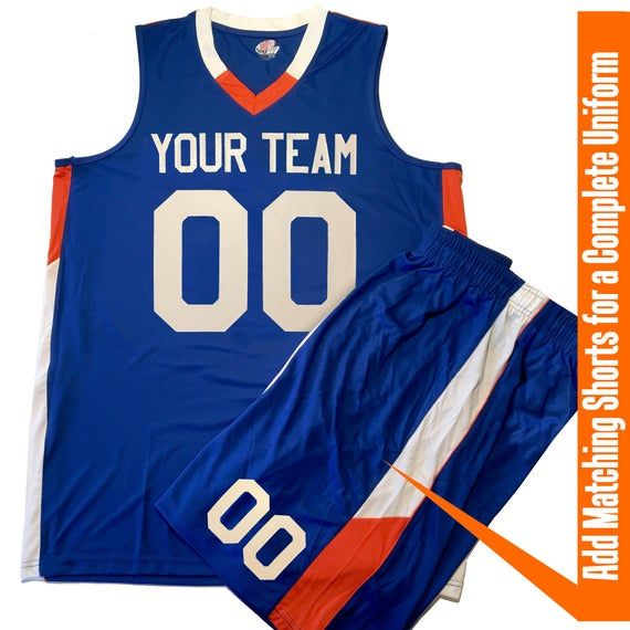 Custom Basketball Jersey | Matching Short | V-Neck 2 Color Trim with Team Name, Player Name and Numb...