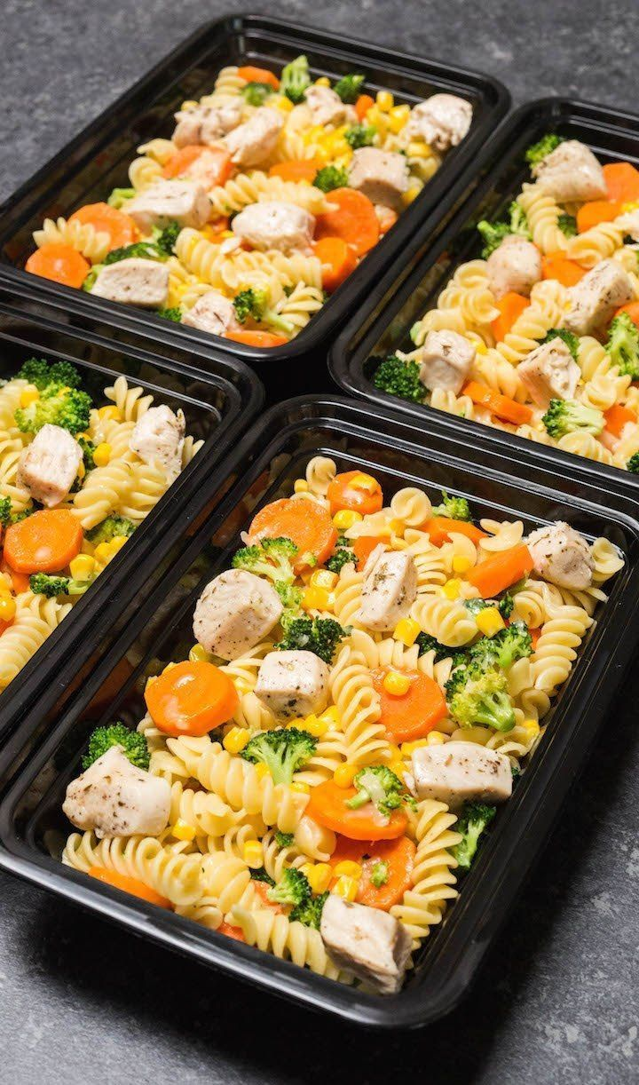 Garlic Chicken & Veggies Pasta Meal Prep. This easy recipe is adult & kid friendly! Perfect for lunch or dinner. #mealprepideas #easyrecipe #Easy Recipes cheap Garlic Chicken & Veggies Pasta Meal Prep Recipe