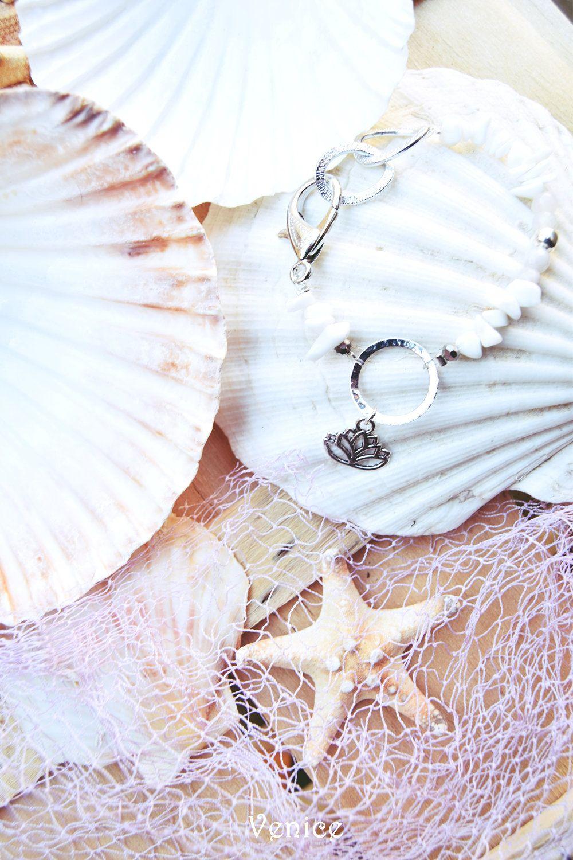 Bracciale pietre dure/bracciale boho/bracciale fiore di loto/bracciale portafortuna/bracciale ciondolo/bracciale etnico/regalo amica di VeniceStyle su Etsy