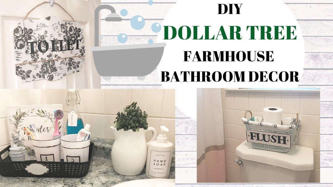 DIY BATHROOM DECOR/ DOLLAR TREE DIYS/ FARMHOUSE BATHROOM ...