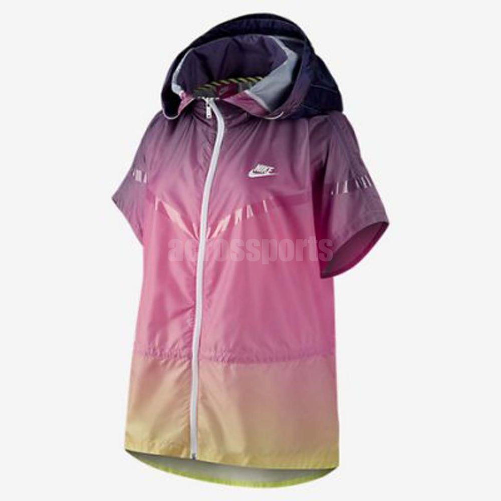 Nike Women RU Sunset Poncho Windbreaker Jacket Training Athletic Running Top
