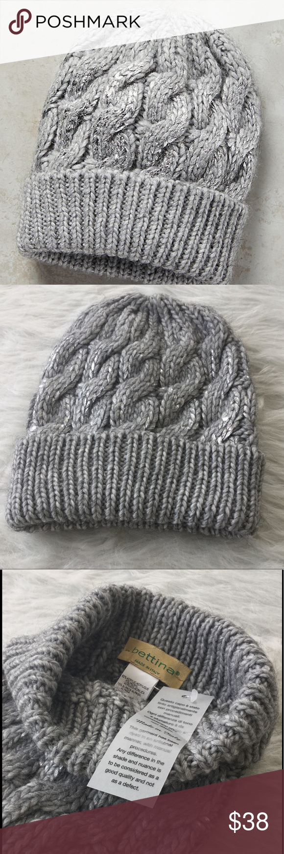 69ccb896c02 NWT Anthropologie Glinted Cables Beanie Thick