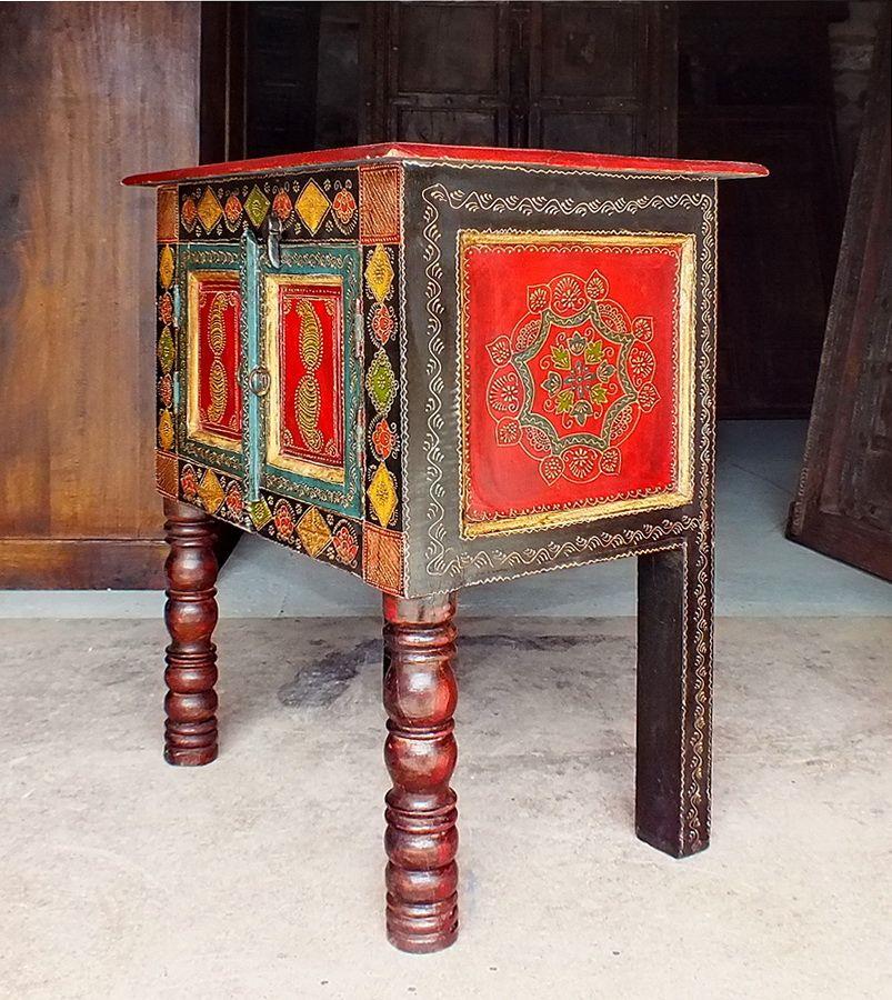 Table indienne peinte et embossée JN4-LA08A, Meubles indiens