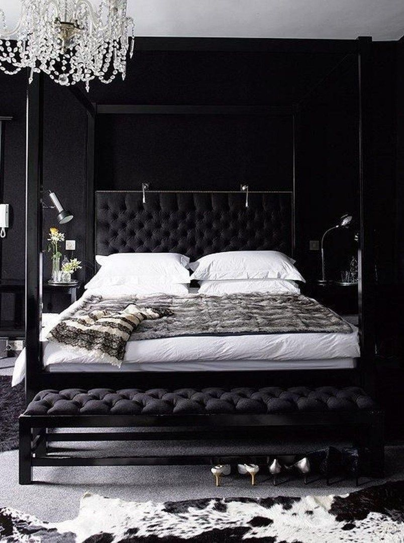 Romantic Black And White Bedroom Ideas You Will Totally Love 42 Black Bedroom Decor Black Bedroom Furniture Modern Bedroom Furniture