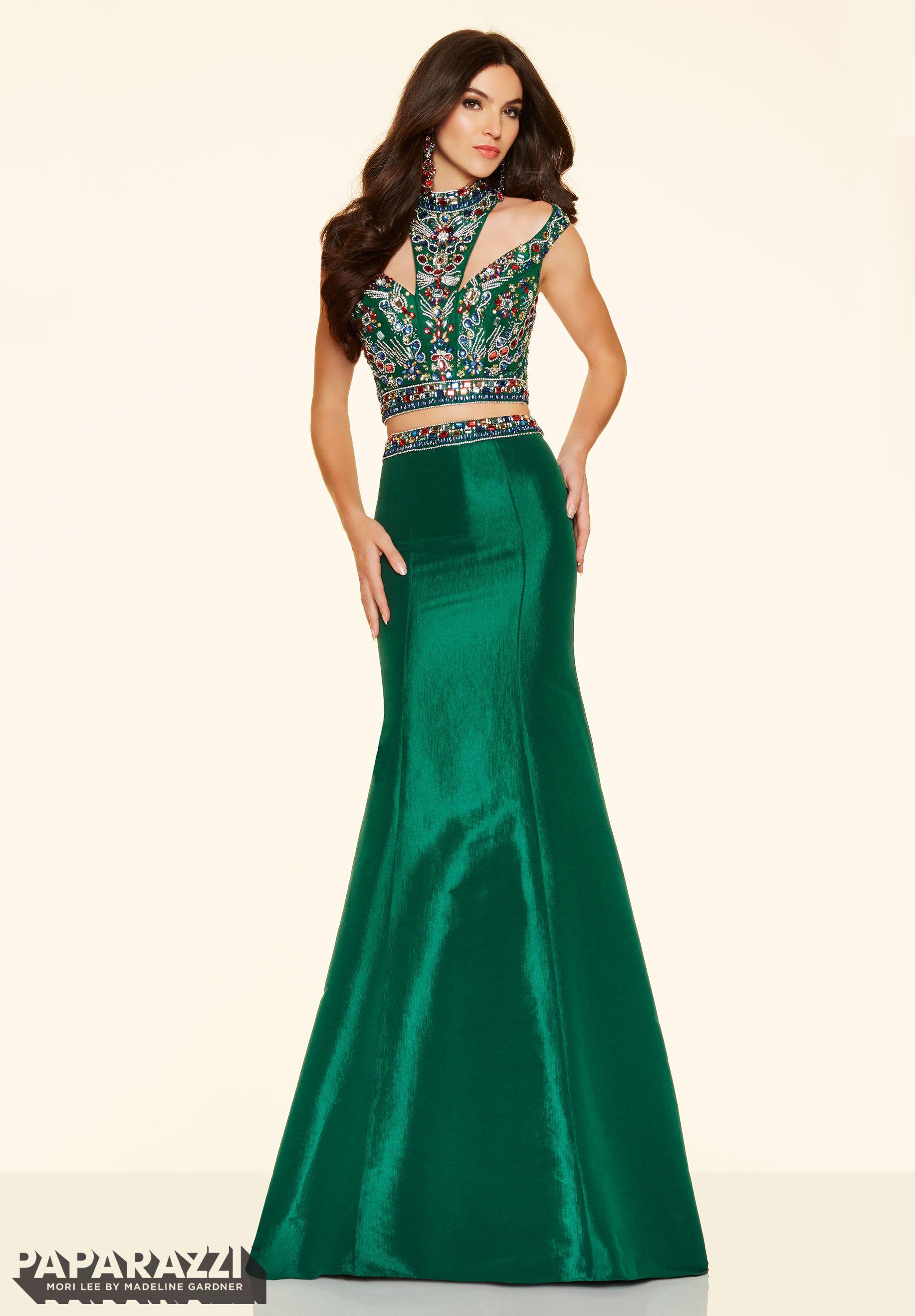 Prom dresses by Paparazzi Prom 2 Piece Beaded Stretch Taffeta Zipper ...