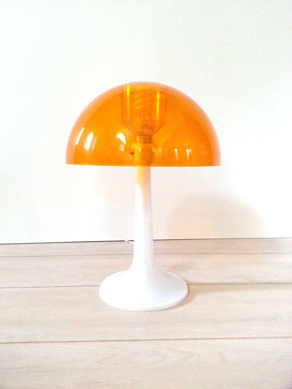 Mid Century Mushroom Lamp Vintage Mod Orange Table Top Lamp White Tulip Base By Gilbert Softlite Table Top Lamps Mushroom Lamp Lamp