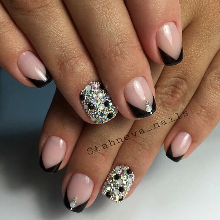 ideas_for_nailartist - Fancy french manicure with crystal accents ...
