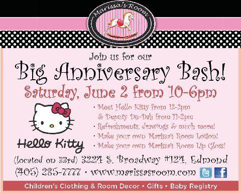 Happy Anniversary Marissa's Room! Hello Kitty is coming! Deputy Du-Dah too. Saturday 6/2!  Make a lip gloss and a lotion! Fun Fun!