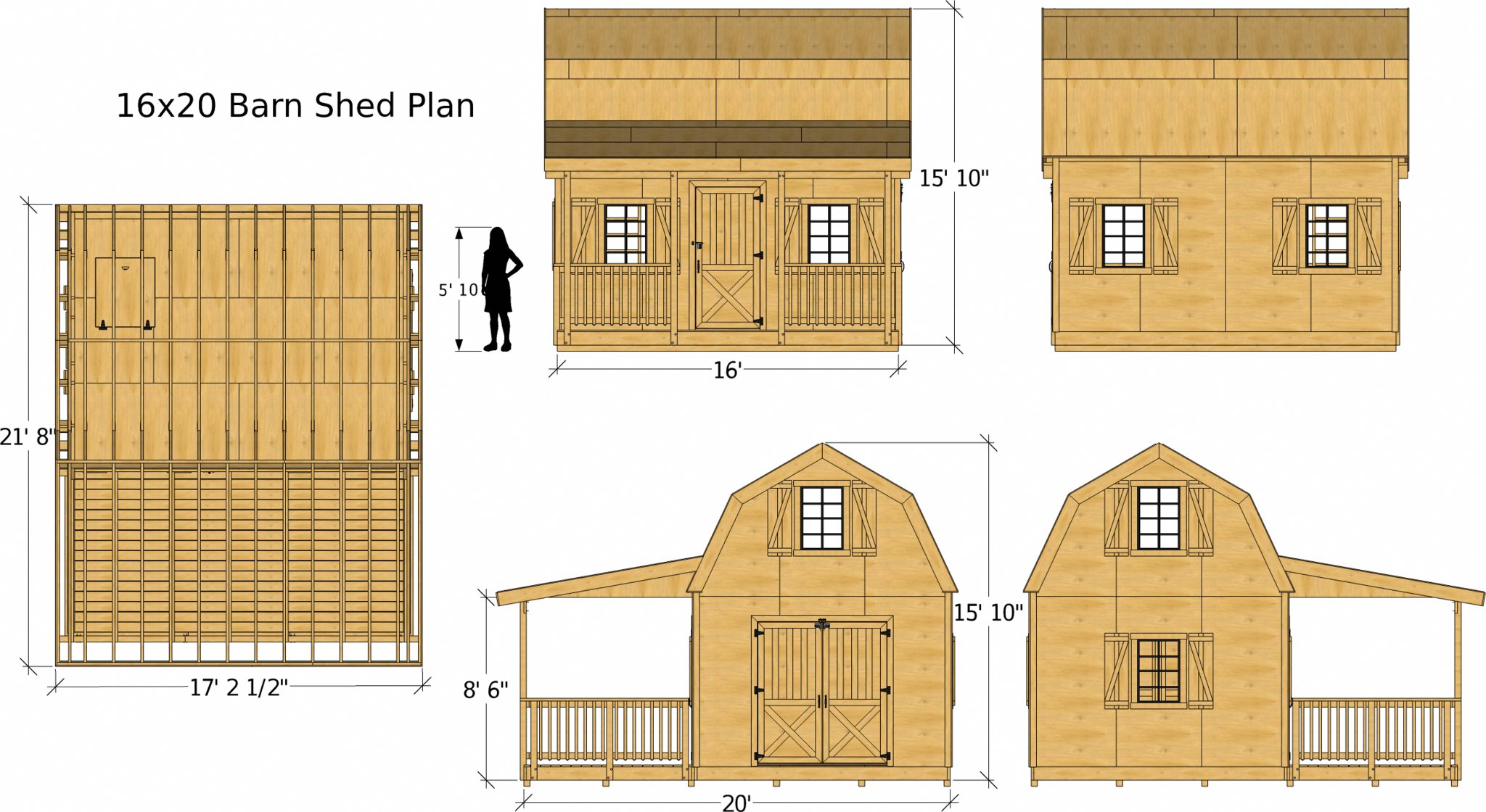 Diy Barn Shed Plans 12x14 16x20 20x24 Two Story Front Porch Paul S Sheds Barns Sheds Small Shed Plans Shed Plan